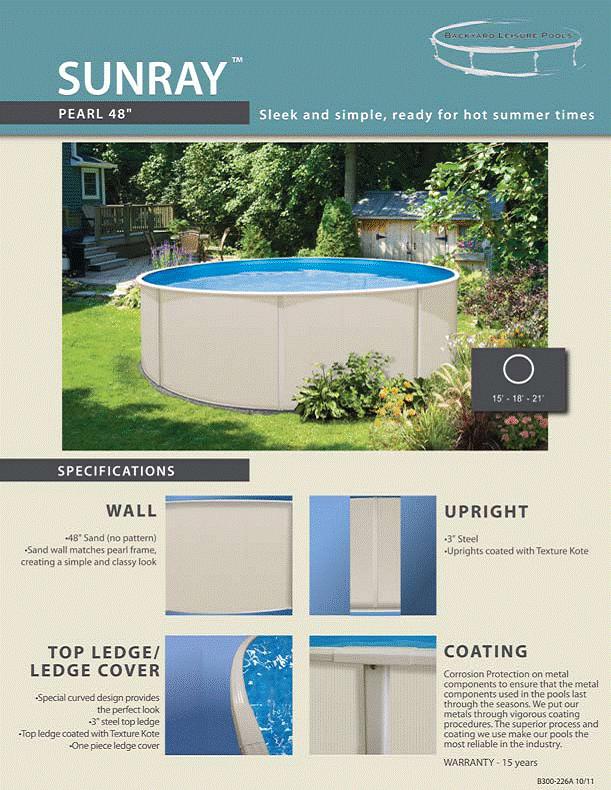 Sunray pool kits above ground swimming pool kits pool for Above ground pool kits