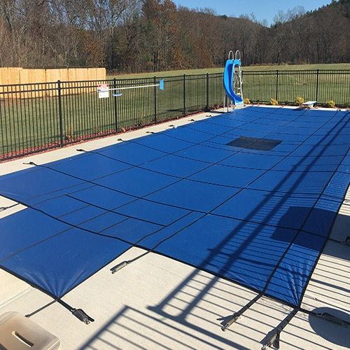 Solid safety pool cover with step and yr warranty