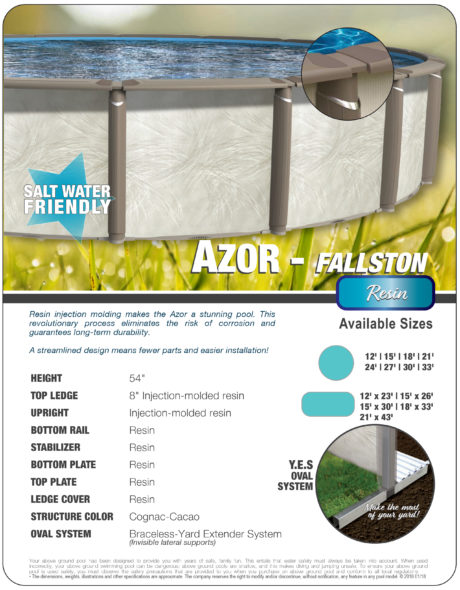 Azor Oval Above Ground Swimming Pool Spec Sheet