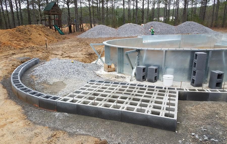 Concrete Block Wall Swimming Pool Inground Kit
