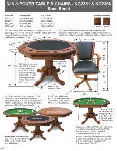 ... Kingston Walnut 3 In 1 Poker Table Spec Sheet ...