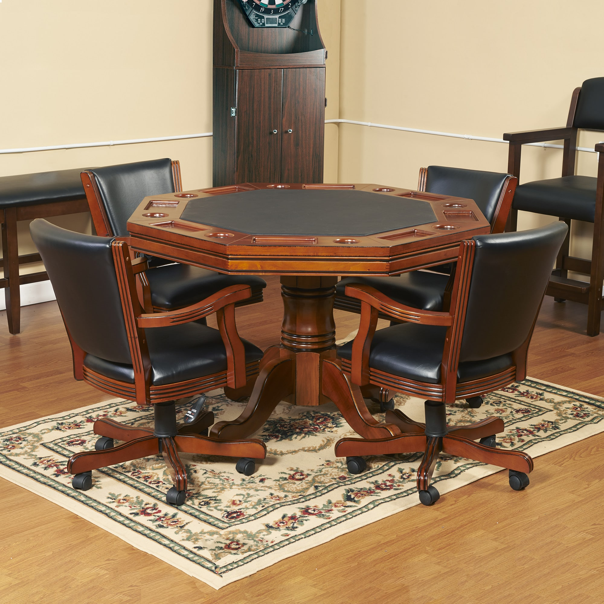 Awesome Kingston Honey Oak 3 In 1 Poker Table And 4 Arm Chairs