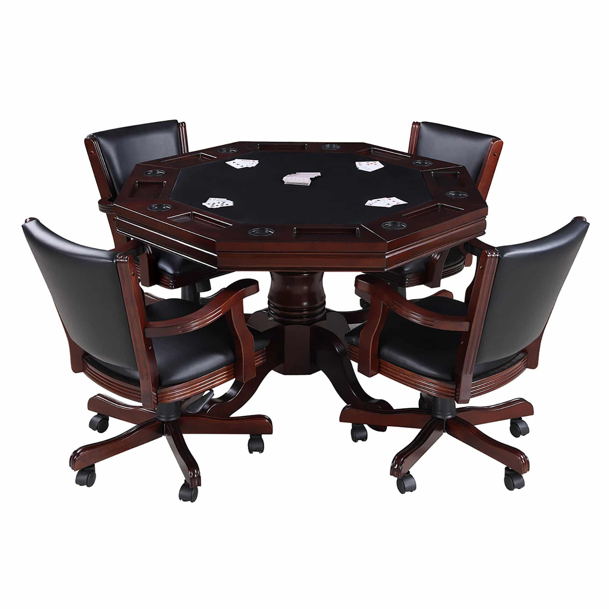 Kingston Walnut 3 In 1 Poker Table And 4 Arm Chairs