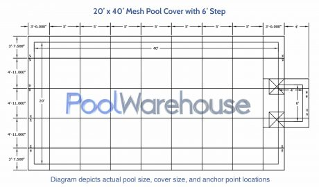 20 x 40 Mesh Pool Cover with 6' Step