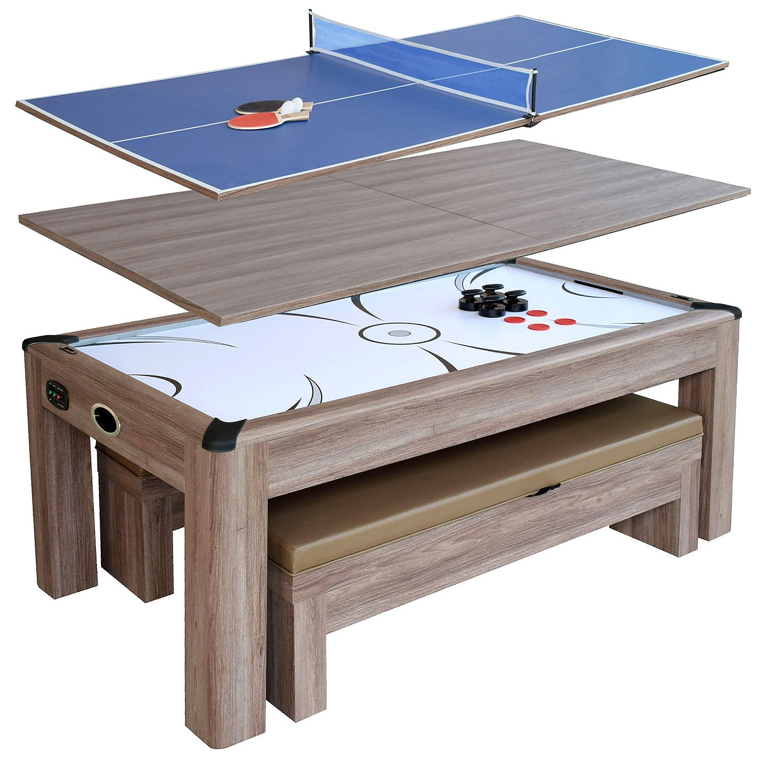 Driftwood 7 Ft Air Hockey Table Combo Set With Benches