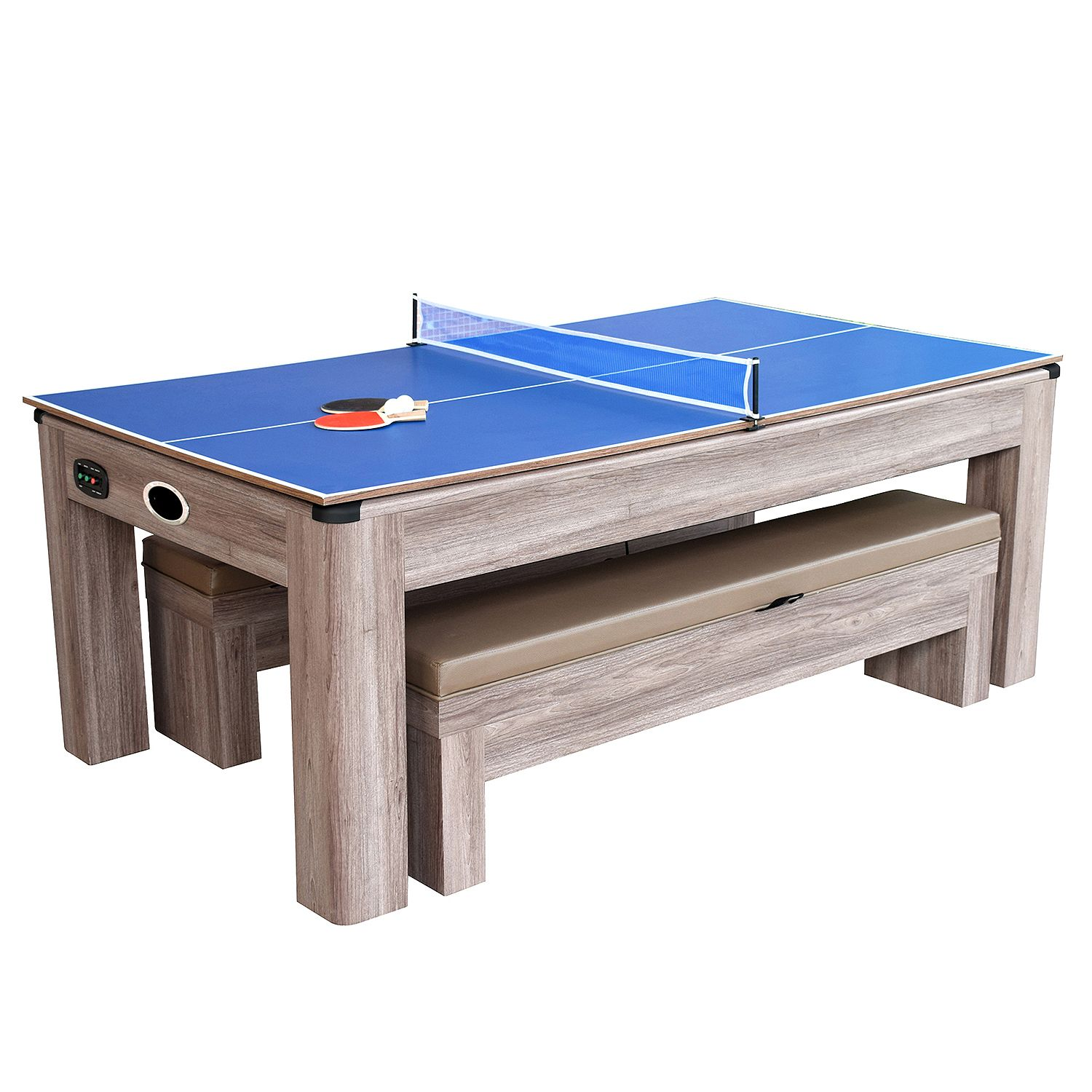 Attrayant Driftwood 7 Ft Air Hockey Table Combo Set With Benches
