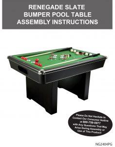 Renegade 54 In Slate Bumper Pool Table Manual ...