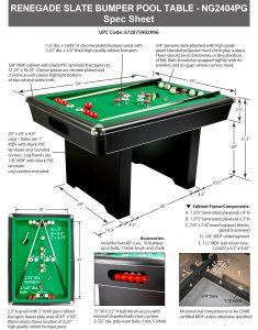 ... Renegade 54 In Slate Bumper Pool Table Spec Sheet ...