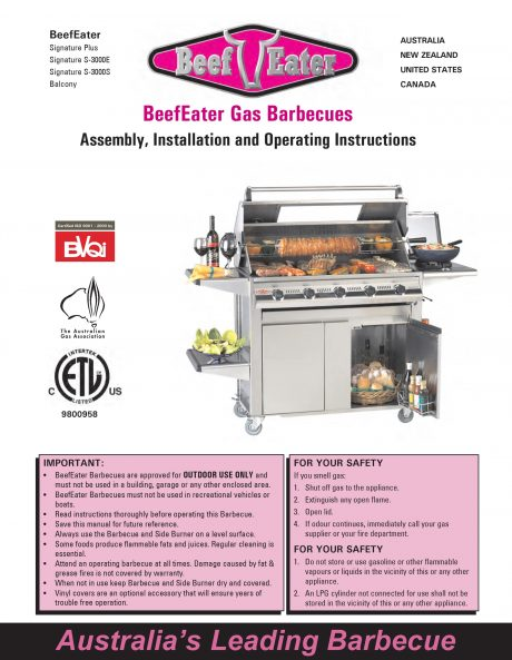 BeefEater Signature S3000e Series BBQ Manual