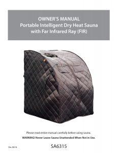 Harmony Deluxe Oversized Portable Sauna Manual