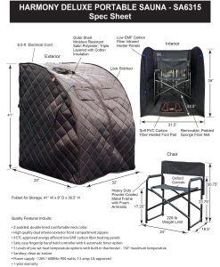 Harmony Deluxe Oversized Portable Sauna Spec Sheet