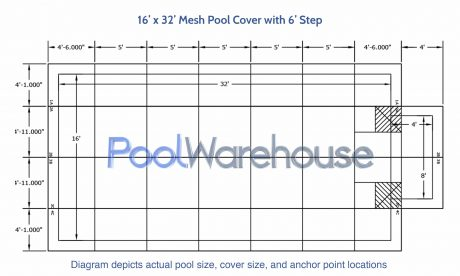 16 x 32 Mesh Pool Cover with 6' Step