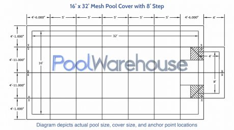 16 x 32 Mesh Pool Cover with 8' Step