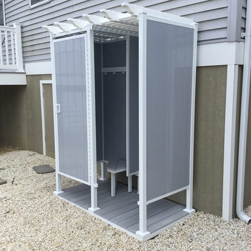 36 X 68 Four Sided Double Outdoor, Prefab Outdoor Shower Enclosures