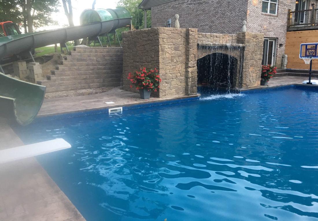 Homemade pool slide