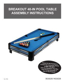 Breakout 40 In Tabletop Pool Table Manual ...