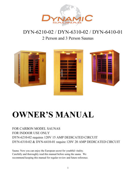 Seville 4 Person Dynamic Low EMF Far Infrared Sauna Manual