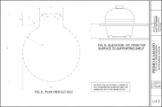 Primo Large Round Ceramic Kamado Grill Cut-Out Dimensions