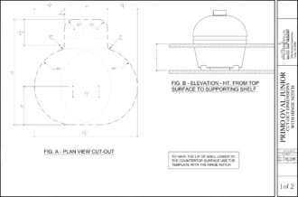 Primo Oval Junior Ceramic Kamado Grill Cut-Out Dimensions