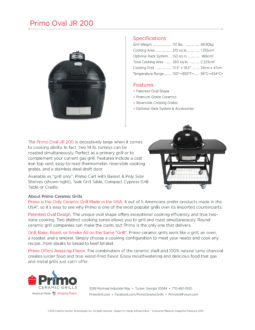 Primo Oval Junior Ceramic Kamado Grill Spec Sheet