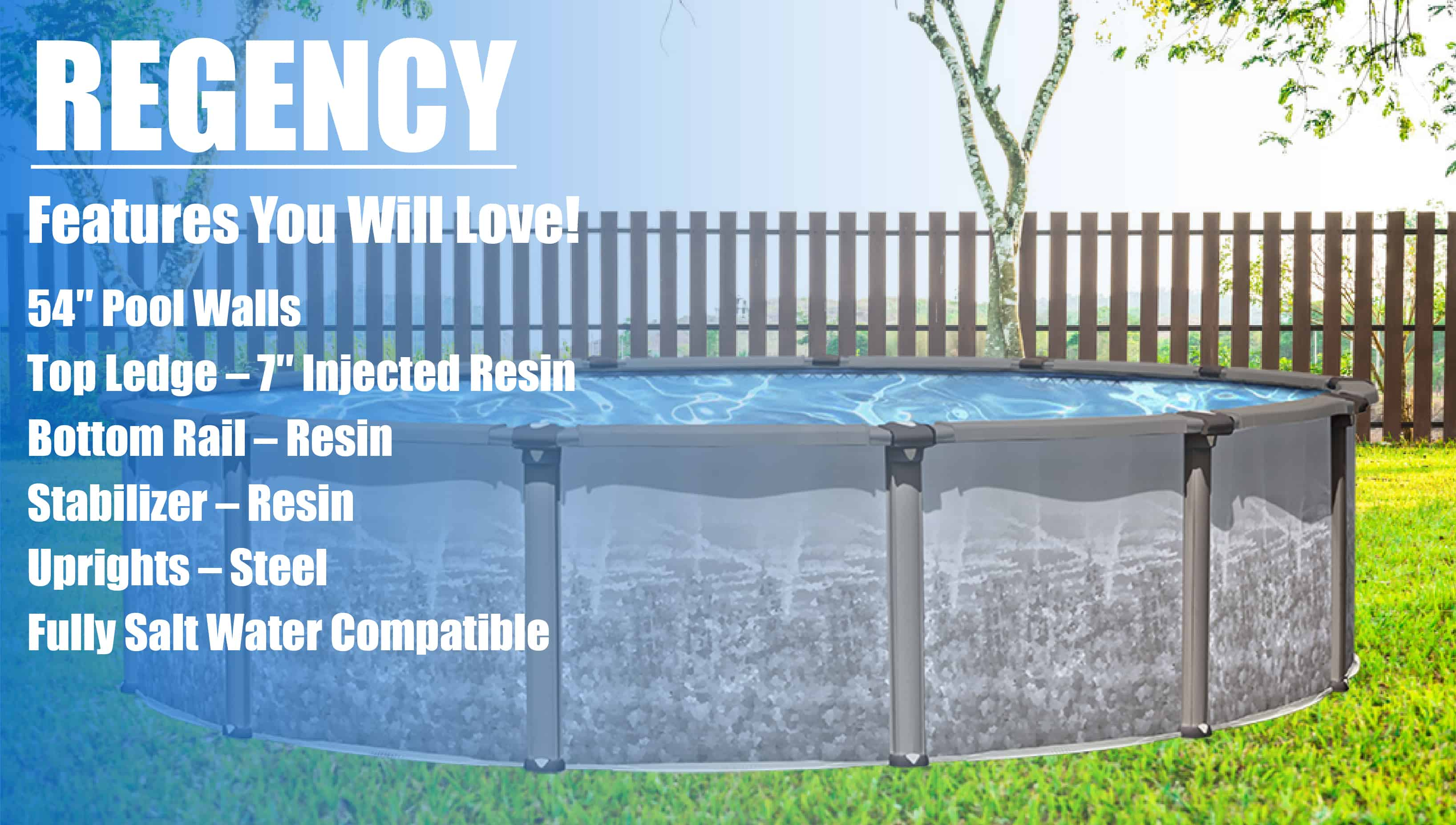 "18/' x 52/"" Above Ground Pool Complete Package /> 40 Yr Warranty /> Regency"