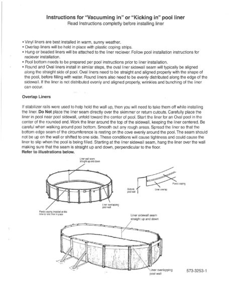 Above Ground Pool Overlap Liner Installation Manual