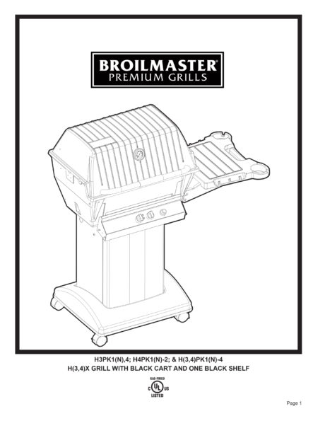 Broilmaster H3PK1 27-Inch Deluxe Freestanding Gas Grill Manual