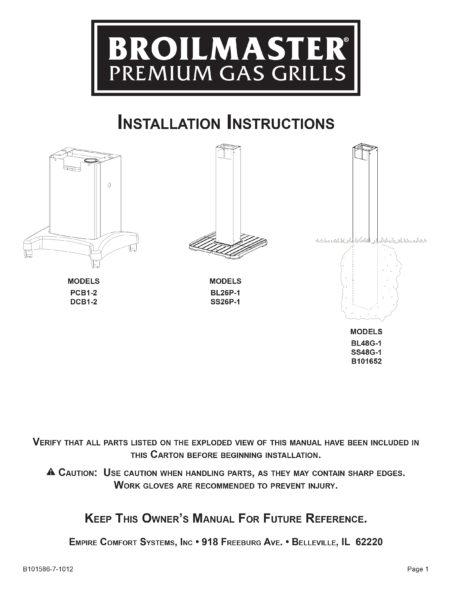 Broilmaster Cart Installation Instructions