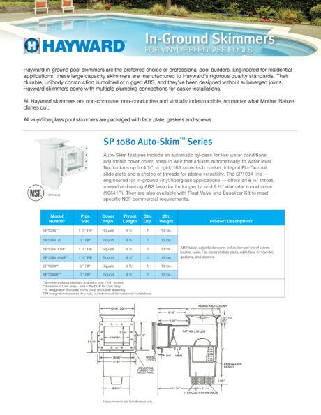 Hayward Inground Standard Mouth Skimmer Brochure