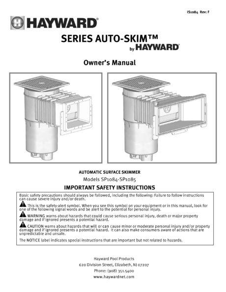 Hayward Inground Standard Mouth Skimmer Manual