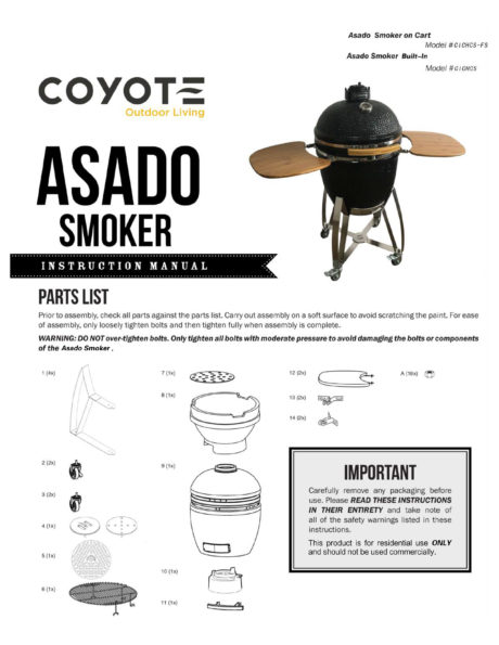 Coyote Asado Ceramic Grill Manual