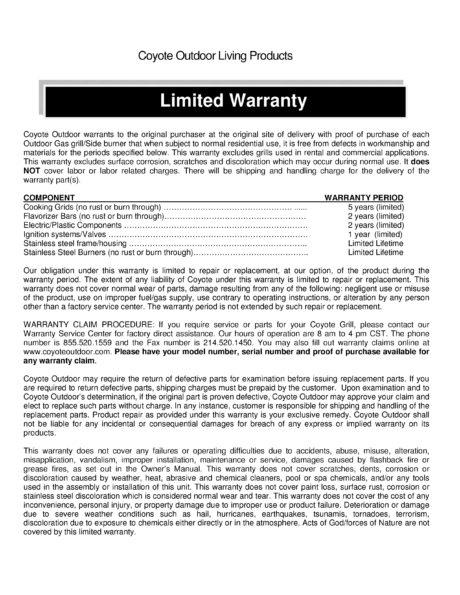 Coyote Outdoor Warranty