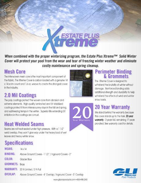 GLI Estate Plus Xtreme Winter Pool Cover Brochure